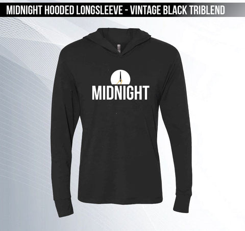 MIDNIGHT - Vintage Black Hooded Long-sleeved Triblend Tee
