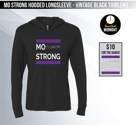 Mo Strong - Vintage Black Hooded Long-sleeved Triblend Tee