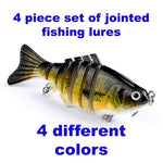 Fishing Hut 4 pack - 4 jointed lures - 4 colors and free hook remover