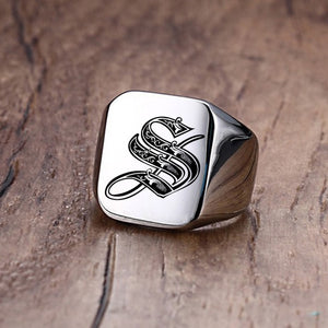 Silver Customized Magician's Initial Ring