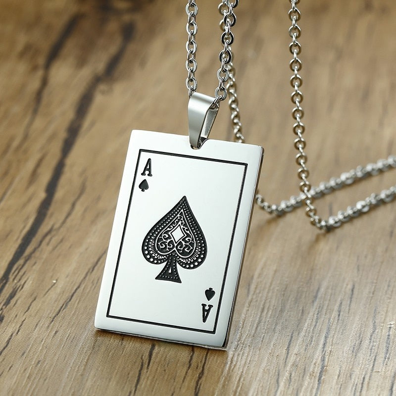 Silver Ace Necklace