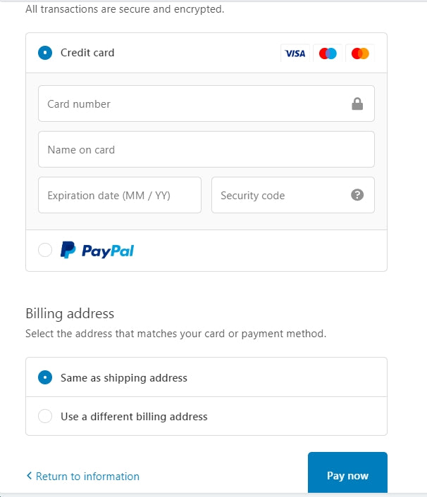 complete your payment details