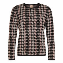 Load image into Gallery viewer, Long Sleeve Houndstooth Crew Neck Sweater
