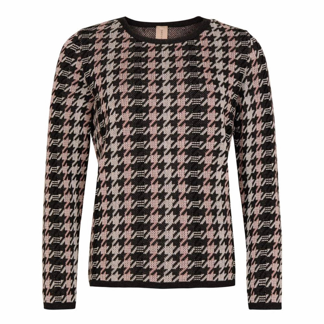 Long Sleeve Houndstooth Crew Neck Sweater
