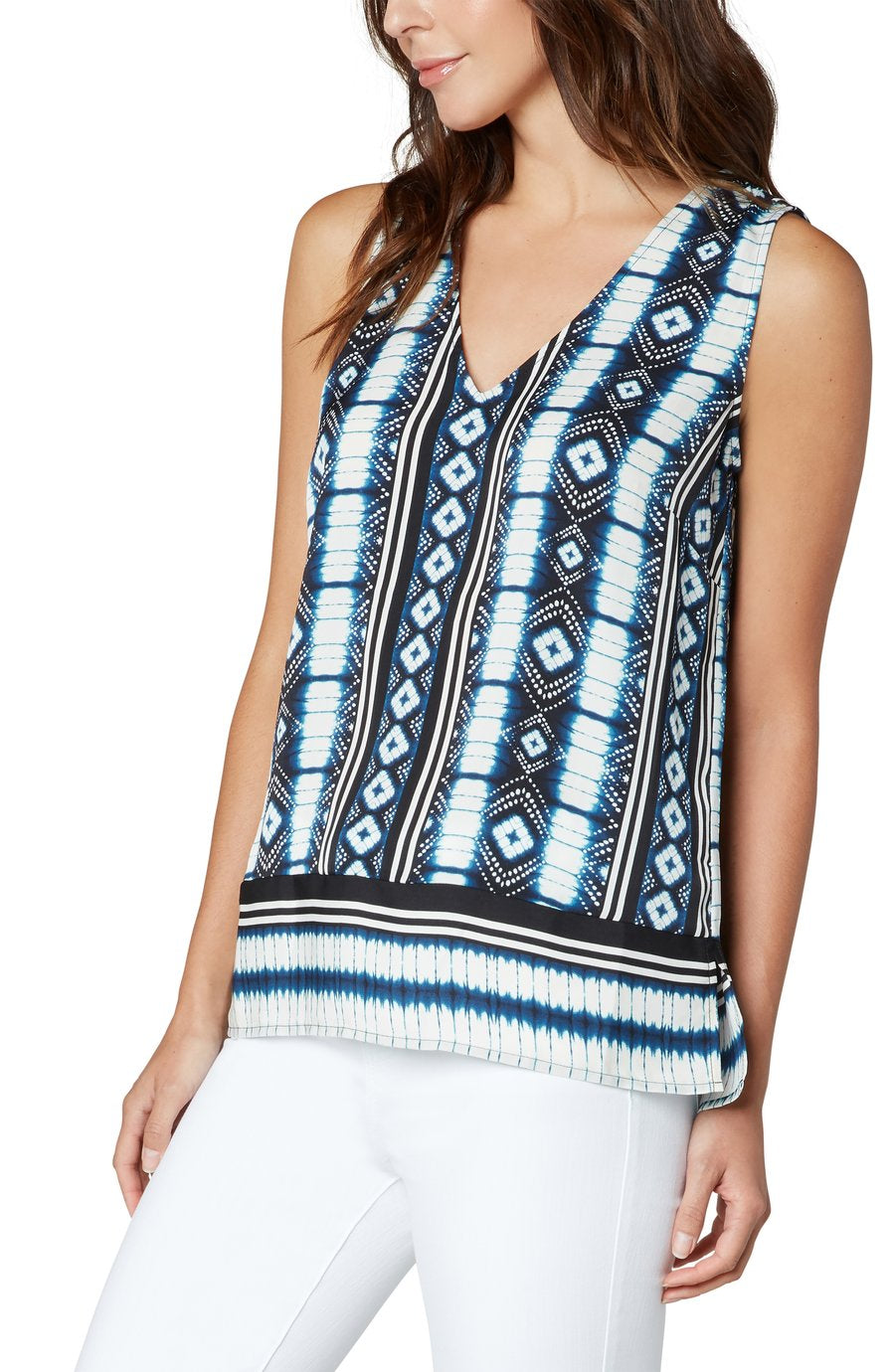Sleeveless V-Neck Print Top