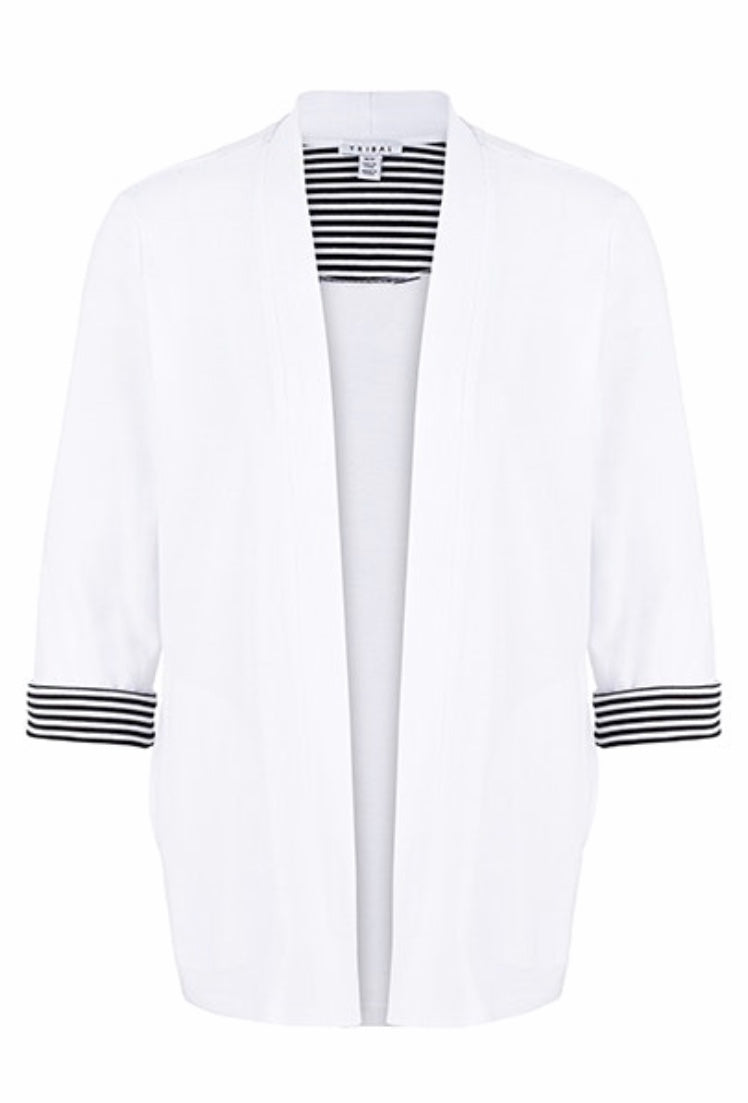 Cotton 3/4 Cuffed Sleeve Cardigan