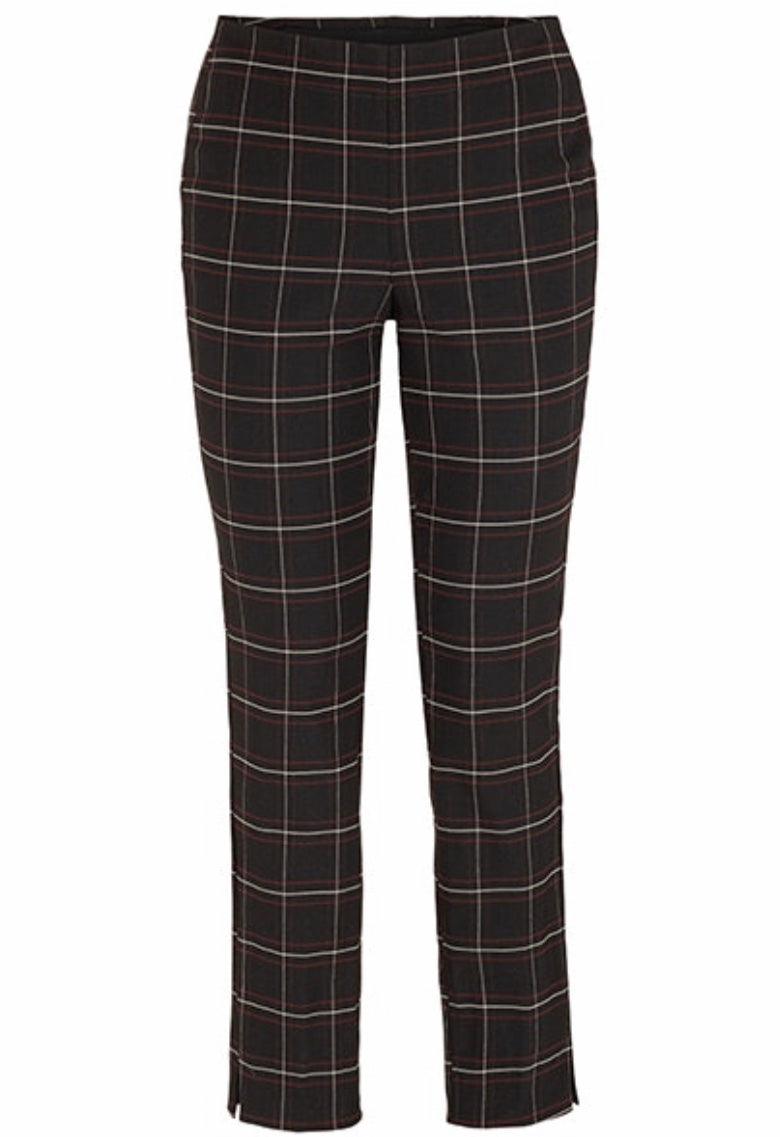 Plaid Pull On Ankle Pant