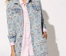Load image into Gallery viewer, Floral Long Denim Jacket