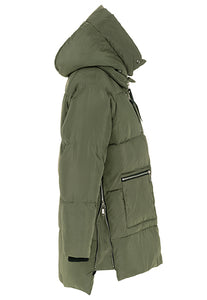 Cocoon Puffer Jacket with Sherpa Hood