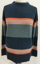 Load image into Gallery viewer, Merino Wool Mock Neck Striped Sweater