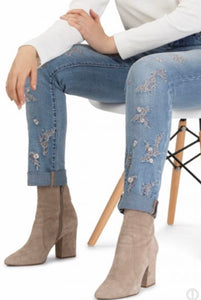Embroidered Jean with Cuff