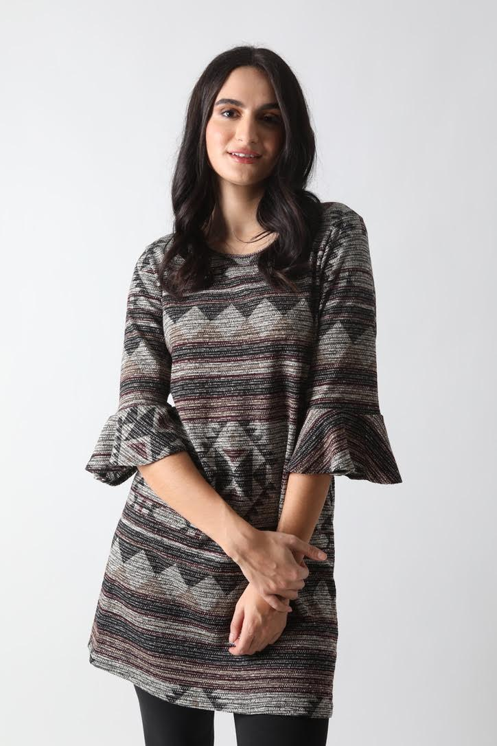 Print Dress with Frill Sleeve