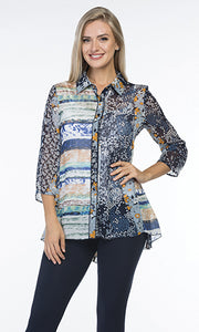 3/4 Sleeve Multi Print Blouse