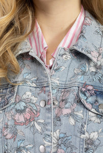 Floral Long Denim Jacket