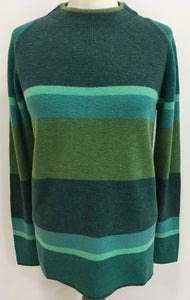 Merino Wool Mock Neck Striped Sweater
