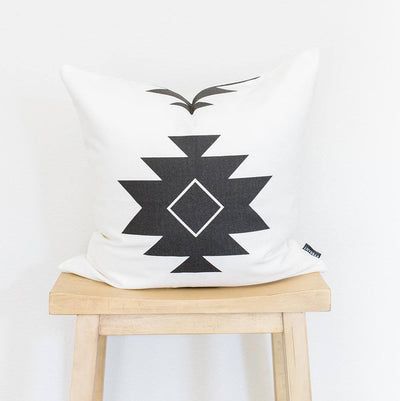 WHITE AZTEC PRINT COTTON THROW PILLOW COVER