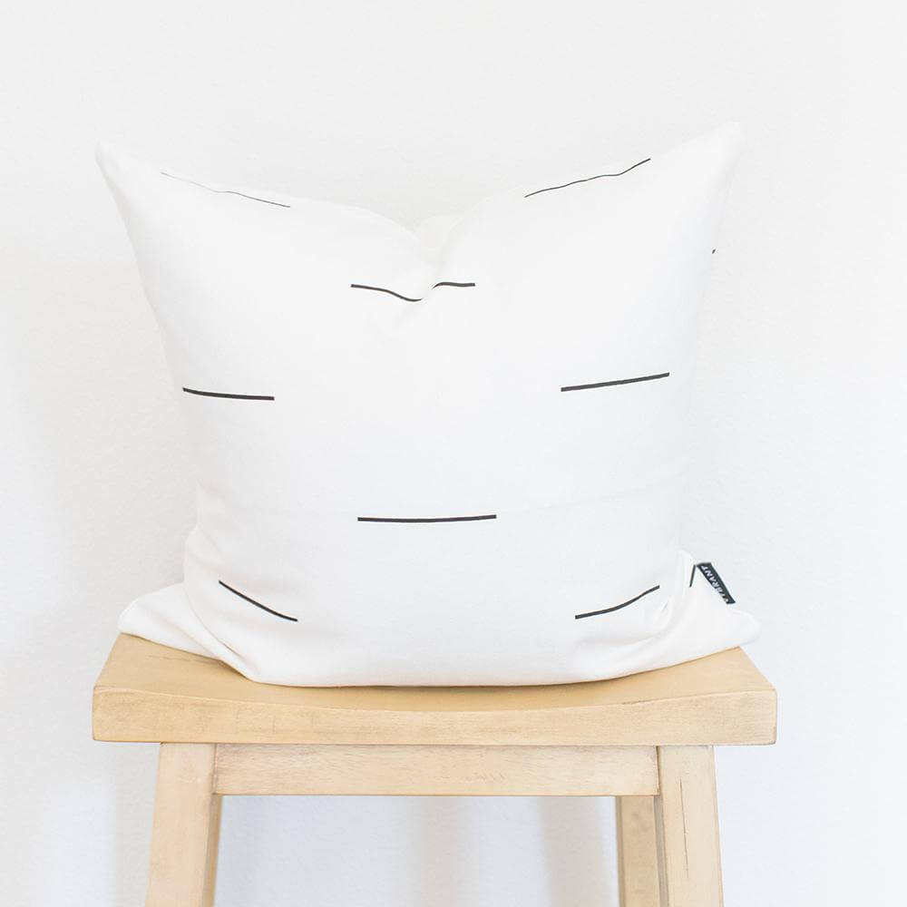 WHITE AND DASHED LINE COTTON THROW PILLOW COVER