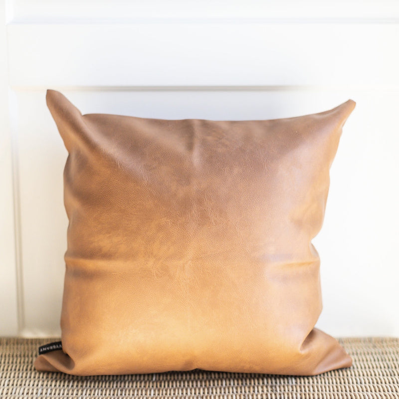 VEGAN FAUX LEATHER THROW PILLOW COVER