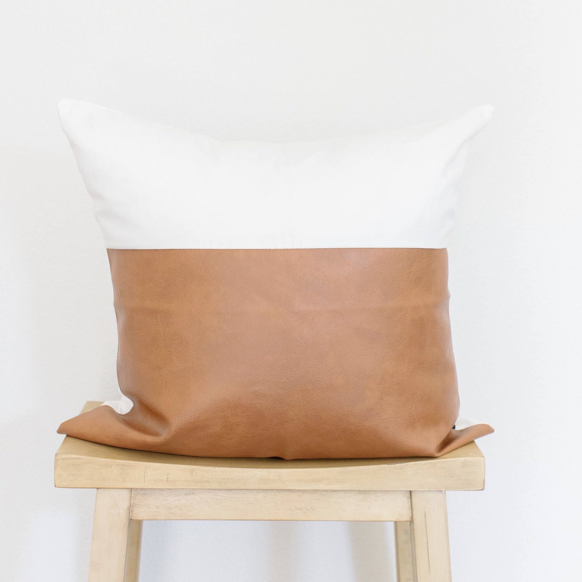 LUNA WHITE AND LEATHER THROW PILLOW COVER