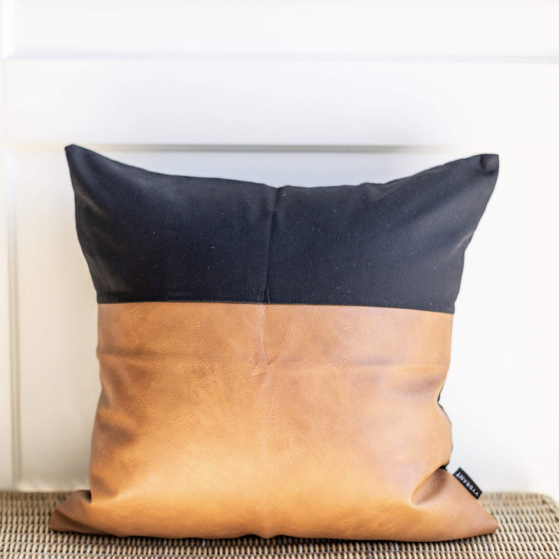 ONYX BLACK AND LEATHER THROW PILLOW COVER