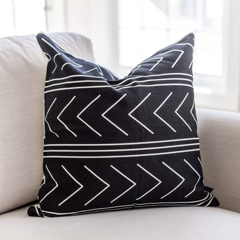 BLACK WITH AZTEC PATTERN COTTON THROW PILLOW