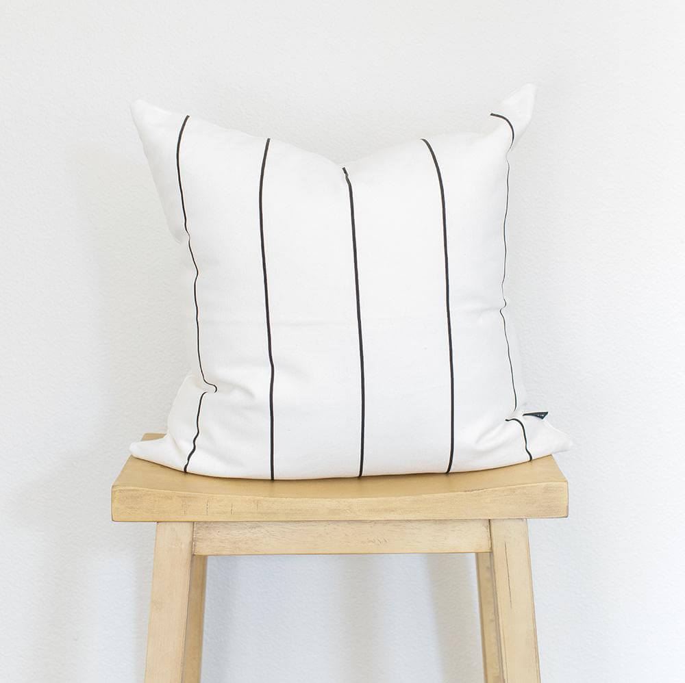 WHITE WTIH STRIPES COTTON THROW PILLOW COVER