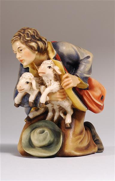 Kostner Nativity Scene Shepherd kneeling with two lambs Figurine
