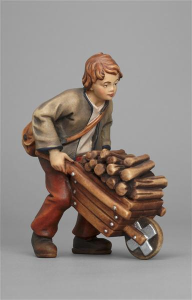 Kostner Nativity Scene Boy with wheelbarrow figurine