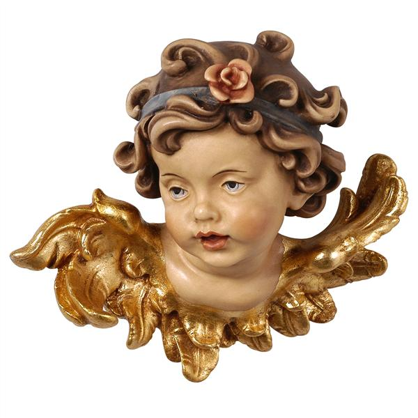 Leonardo Angel Head Wall Sculpture with Rose - looking right