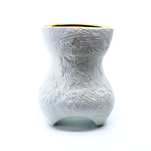 Dallas Wooten- White on White w/ Gold Etched Pocket Vase