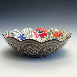 Colleen McCall- Scallop Red & Blue Bowl
