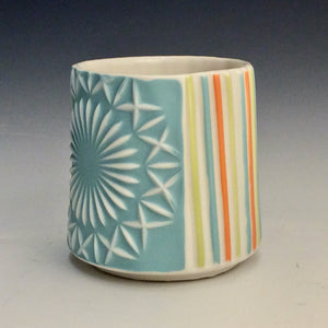 Kelly Justice- Turquoise Fireworks Cup w/ pinstripes