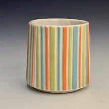 Load image into Gallery viewer, Kelly Justice- Turquoise Fireworks Cup w/ pinstripes