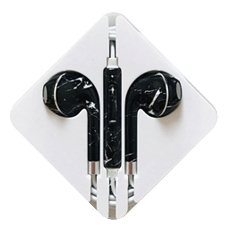 Black Marble Earbud Headphones