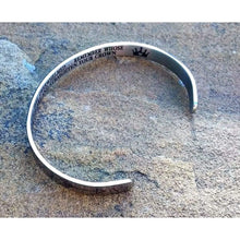 Load image into Gallery viewer, Stainless steel cuff bracelet/bangle (hidden message/inscription inside)  'Whenever you feel overwhelmed... remember whose daughter you are and straighten your crown' Off The Wall Accessories OTW feel