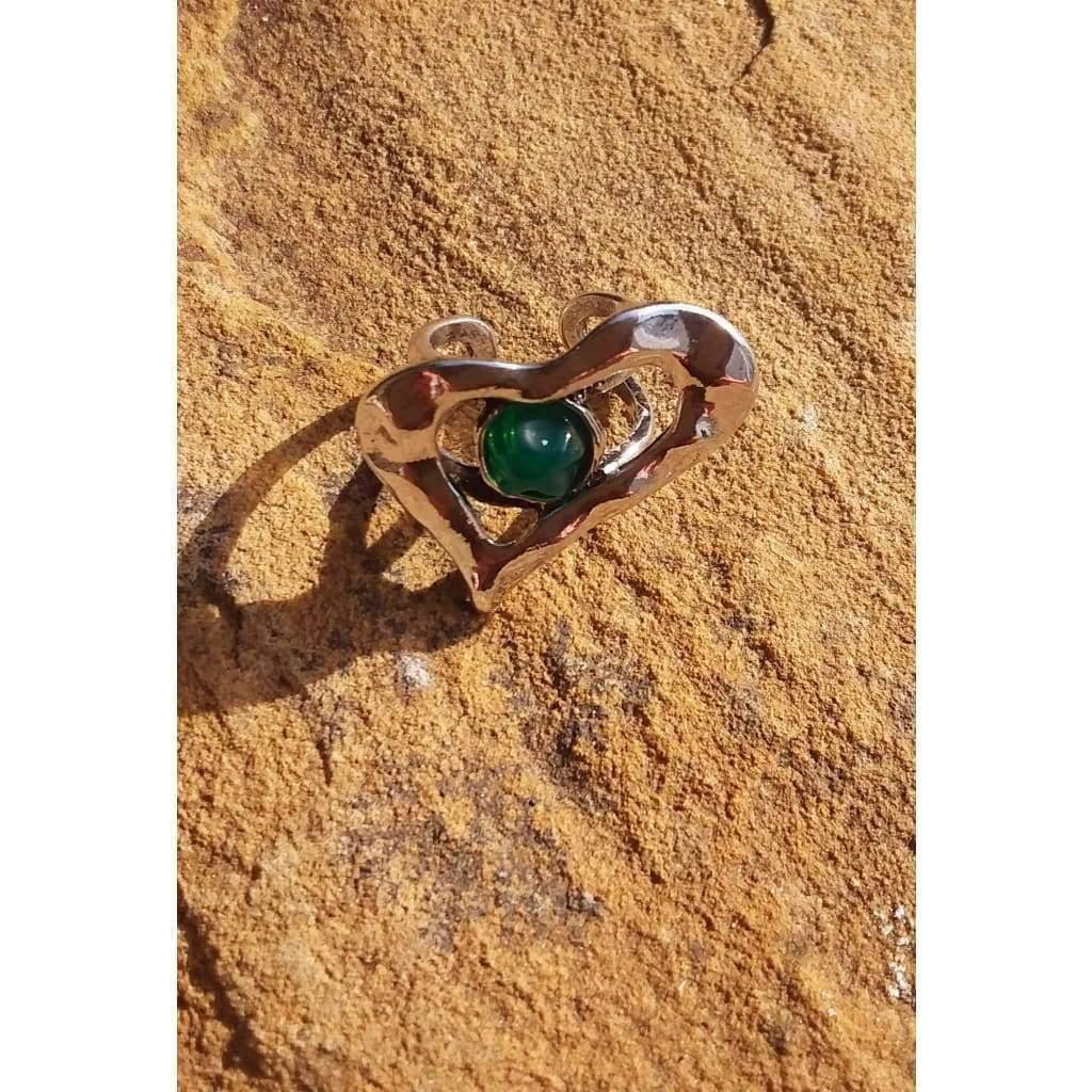 Adjustable Quirky Ring Silver Tone Off Centre Misshapen Heart Shape With Faux Green Gem Oversized - Off The Wall Accessories