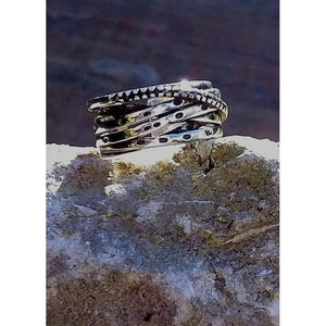 Adjustable silver tone ring. Spinner ring and stacking rings all in one. Boho and vintage style. - Off The Wall Accessories