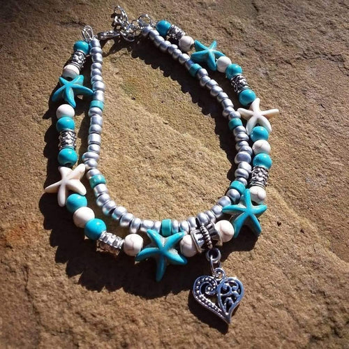 Anklet Boho Hippy Starfish Turquoise and Cream Ceramic Beads - Off The Wall Accessories