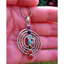 Load image into Gallery viewer, Chakra pendant/necklace on silver tone chain - Off The Wall Accessories