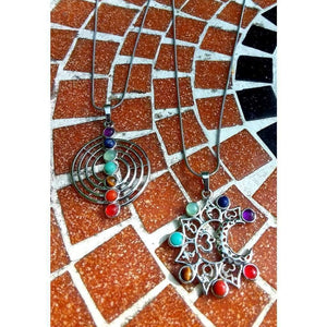 Chakra pendant/necklace on silver tone chain - Off The Wall Accessories