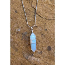 Load image into Gallery viewer, Crystal Pendant with chain necklace Opal Crystal hand wrapped pendant - Off The Wall Accessories