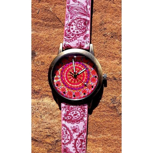 Cute Funky Boho Watch Bronze Colour, Mandala, Tibetan Pattern Face, Raspberry Coloured Strap funky, quirky and - Off The Wall Accessories