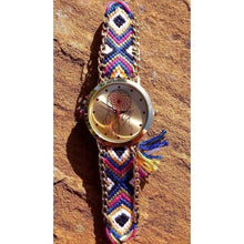 Load image into Gallery viewer, Dreamcatcher Face Gold Tone Watch Boho, Hippy and Funky with Fabric Friendship Bracelet Style Strap - Off The Wall Accessories