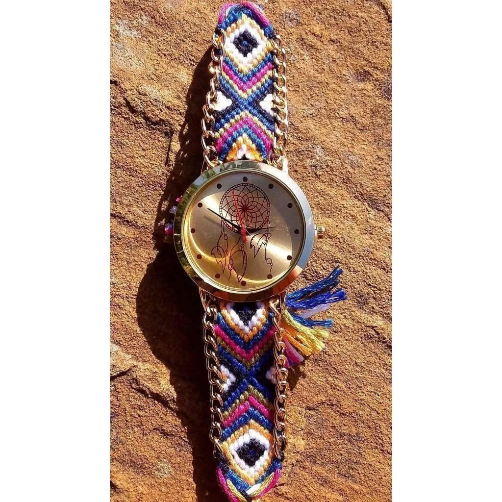 Dreamcatcher Face Gold Tone Watch Boho, Hippy and Funky with Fabric Friendship Bracelet Style Strap - Off The Wall Accessories