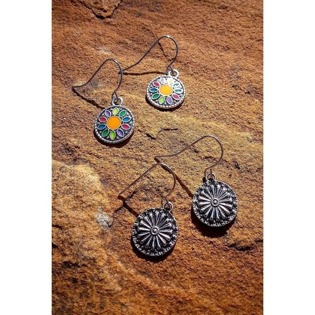 Earrings Set Boho dangle drop vintage antique silver tone painted enamel design - Off The Wall Accessories