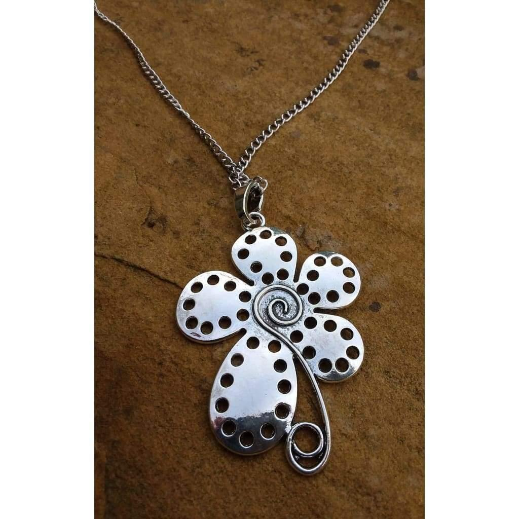 Funky Pendant Spiral Flower necklace and chain - Off The Wall Accessories