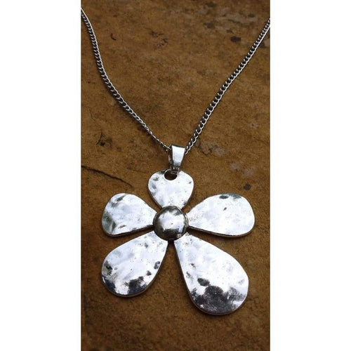 Hammered flowered pendant Metal Large, Unusual and Funky Flower Pendant/Necklace and Silver Tone Chain - Off The Wall Accessories