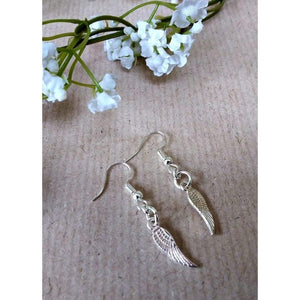 Hand made silver plated angel wing earrings - Off The Wall Accessories