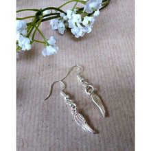 Load image into Gallery viewer, Hand made silver plated angel wing earrings - Off The Wall Accessories