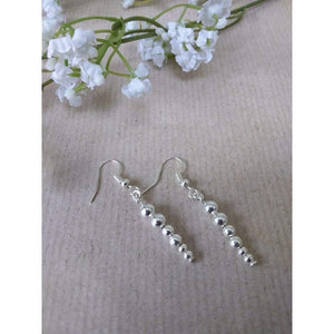 Hand made silver plated plain bead balls on silver plated wire earrings - Off The Wall Accessories